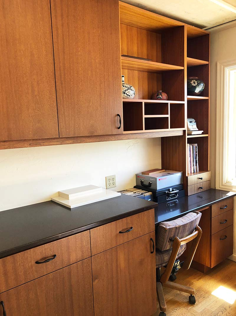 The Wood Joint's showroom features contemporary office cabinets.